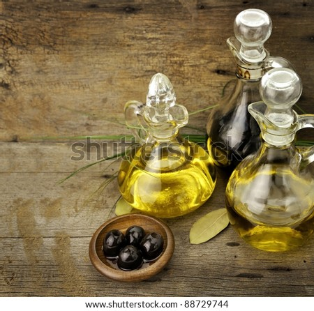 Vegetable And Olive Oil With Balsamic Vinegar - stock photo