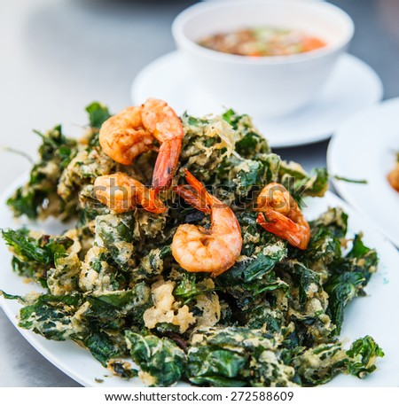 vegetable and prawns fritters in Thailand
