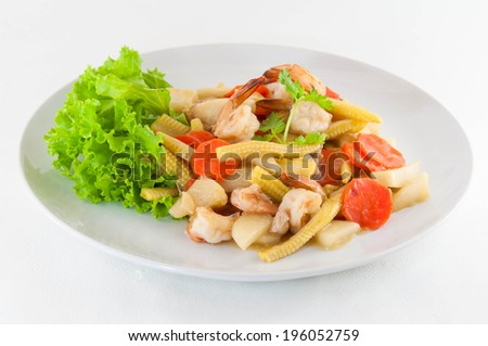 Vegetable and shrimp stir-fry dishes. - stock photo