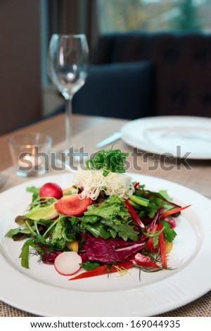 Vegetable appetizer on a restaurant table