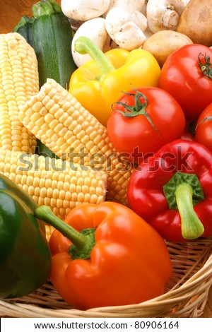 Vegetable basket with fresh vegetables from the garden - stock photo