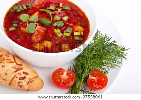 Vegetable Beetroot Soup - stock photo