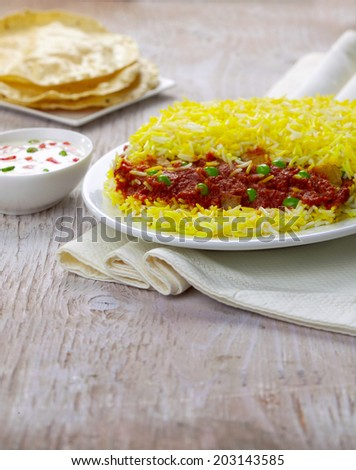 Vegetable Biryani, Veg Biryani, Indian food - stock photo