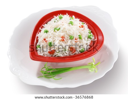 Vegetable Boiled Rice - stock photo