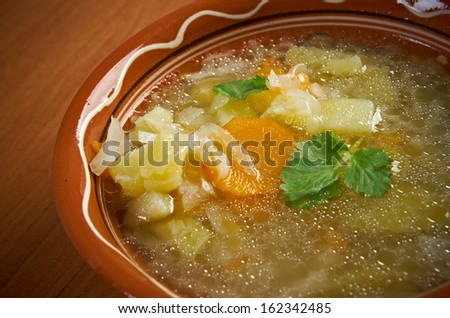 Vegetable  cabbage soup - stock photo