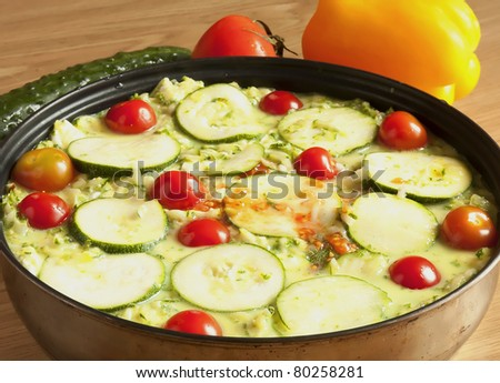 vegetable casserole in a pan - stock photo