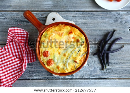 vegetable casserole, top view, food closeup - stock photo