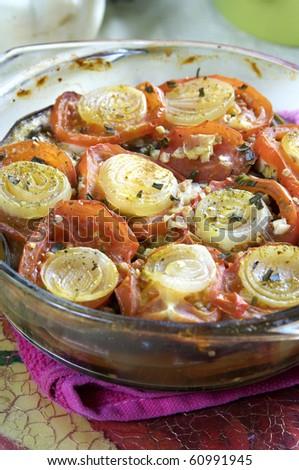 vegetable casserole with aubergine,zucchini,tomato - stock photo