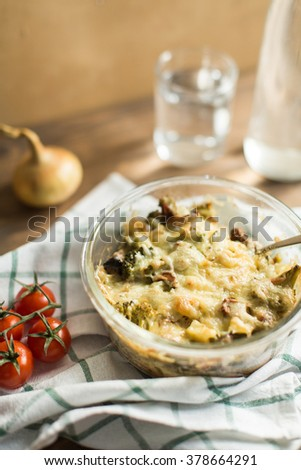 Vegetable casserole with cheese - stock photo