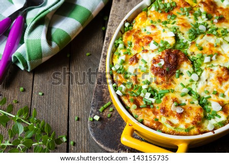 vegetable casserole with zucchini, food close up - stock photo