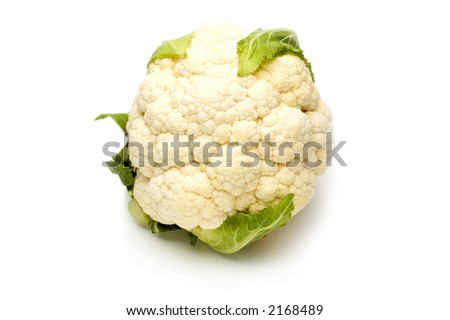 vegetable cauliflower close up on white background