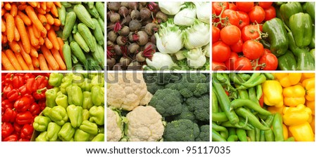 vegetable collage made from six images - stock photo