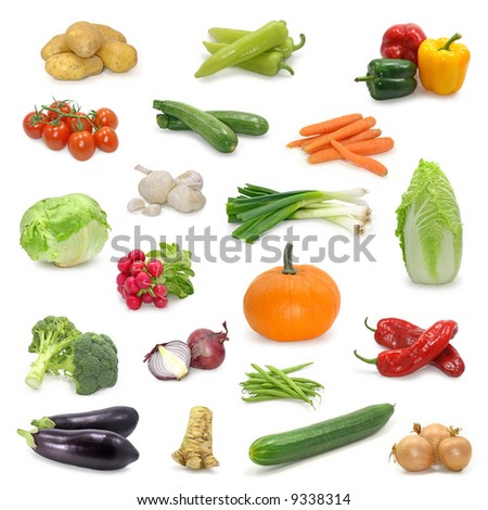vegetable  collection isolated on a white - stock photo
