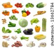 vegetable collection isolated on a white background - stock photo