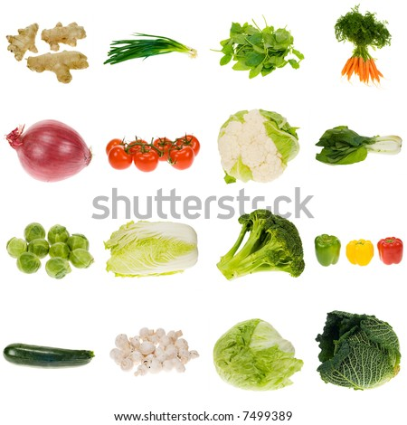 vegetable collection isolated on a white background, all pieces individually photographed in studio and no shade so its easy to select.