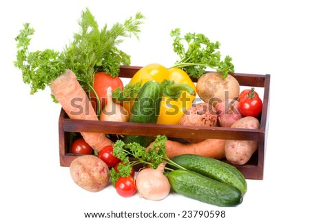 Vegetable collection on a white
