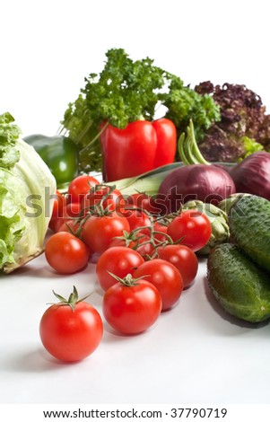 Vegetable composition on white background