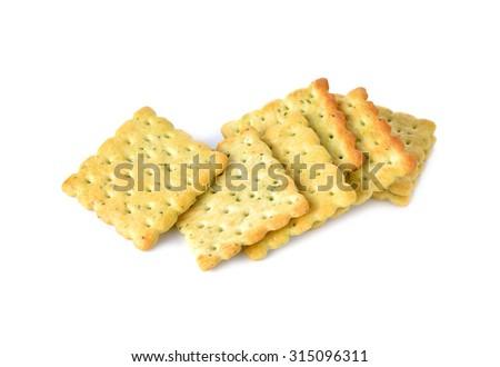 vegetable crackers on white background - stock photo