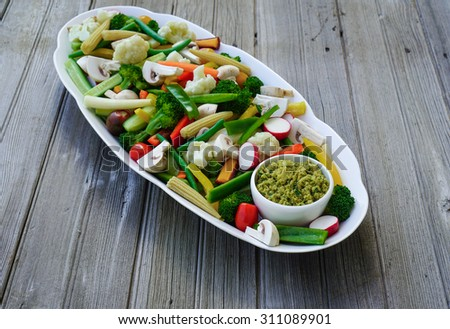 Vegetable Crudites and Dip/ vegetable platter, healthy eating, selective focus - stock photo