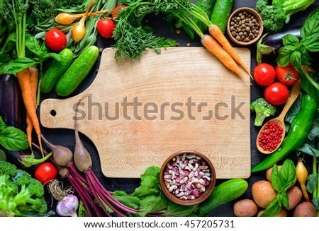 Vegetable culinary background with a space for a text, view from above