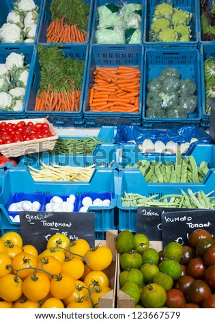 Vegetable display at a greengrocer's shop in Europe with price tags in euros, no brand names - stock photo