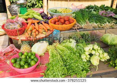 Vegetable for sale on market stall in Vietnam, Asia