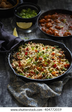 Vegetable Fried Rice with Soyabean Manchurian ( An Indo Chinese Cuisine) - stock photo