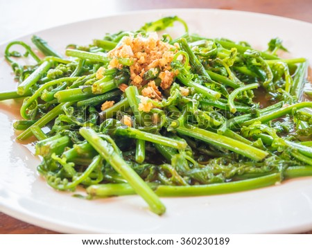 Vegetable fried with oyster sauce, Thai cuisine called Pak-Kood
