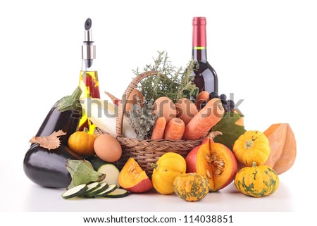 vegetable,fruit,olive oil and wine