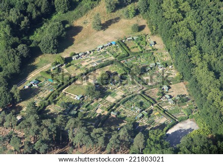 vegetable garden in france, aerial view - stock photo
