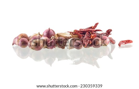 vegetable Garlic ,pepper and onion isolated on a white background