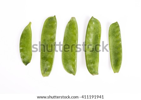 Vegetable. Green peas on a white background - stock photo