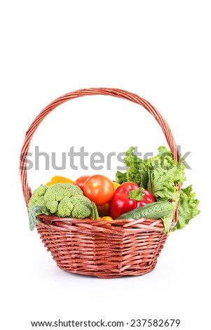 Vegetable in basket isolated on white - stock photo
