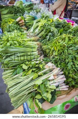 vegetable in display market, bangkok, thailand - stock photo