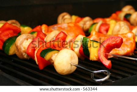 Vegetable kabobs on the grill