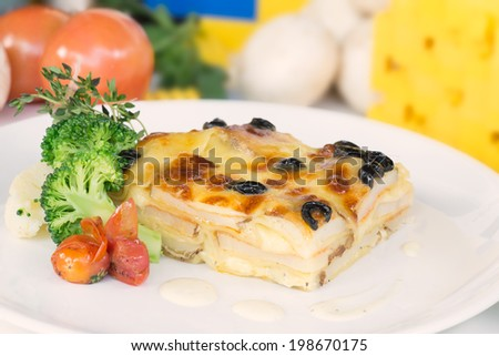 Vegetable lasagna on a white plate close up  - stock photo