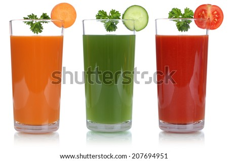 Vegetable like carrot juice and tomato juice, isolated on a white background