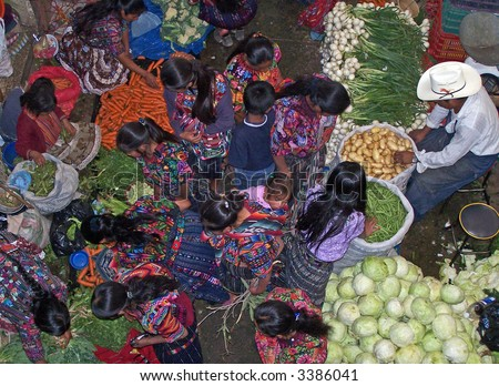 Vegetable market in Chichicastenango (Guatemala) - stock photo