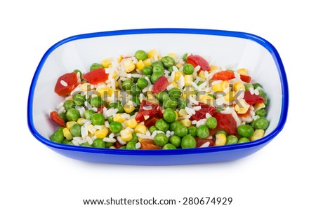 Vegetable mix in blue bowl isolated on white background - stock photo
