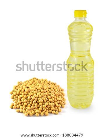 vegetable oil in a plastic bottler on white background - stock photo