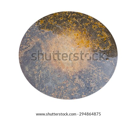 Vegetable oil slick on the water isolated on white background