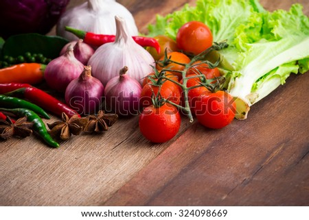 Vegetable on old wooden background
