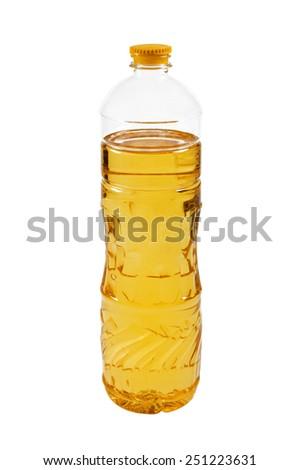 vegetable or sunflower oil in plastic bottle isolated  - stock photo