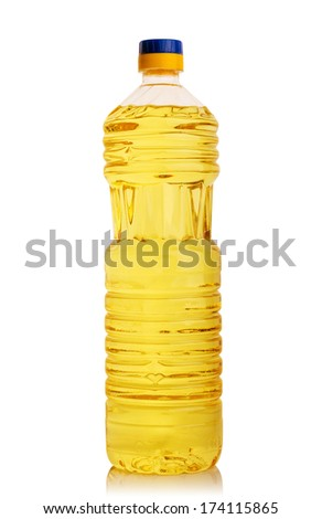 vegetable or sunflower oil in plastic bottle isolated on with background