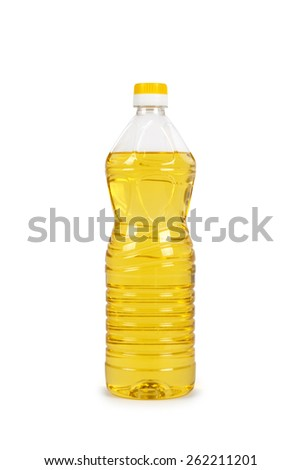 vegetable or sunflower oil in plastic bottle isolated with - stock photo