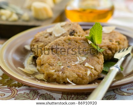 Vegetable pancake with cheese, soft focus - stock photo