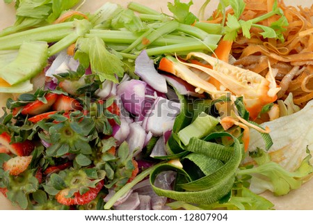 Vegetable peelings and food scraps ready for the compost. - stock photo