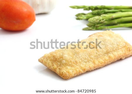 vegetable pie isolated in white background - stock photo