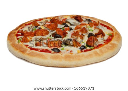 Vegetable Pizza on white background