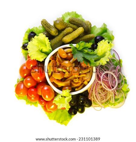 Vegetable platter isolated on white - stock photo